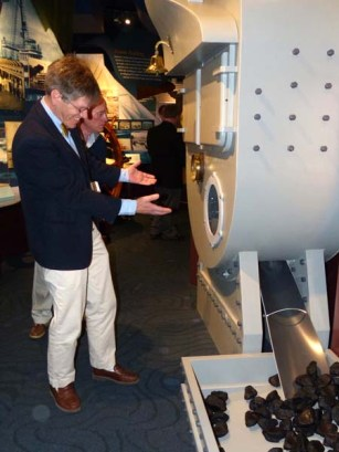Pete Lesher demonstrates the interactive boiler exhibit.