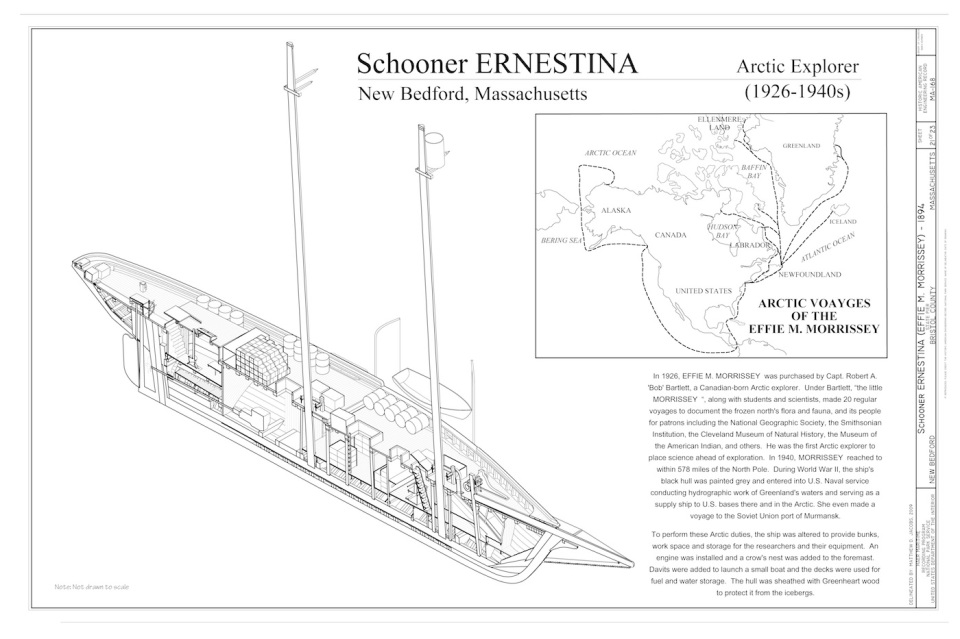 ERNESTINA as arctic explorer. Drawing by Matthew D. Jacobs, 2009
