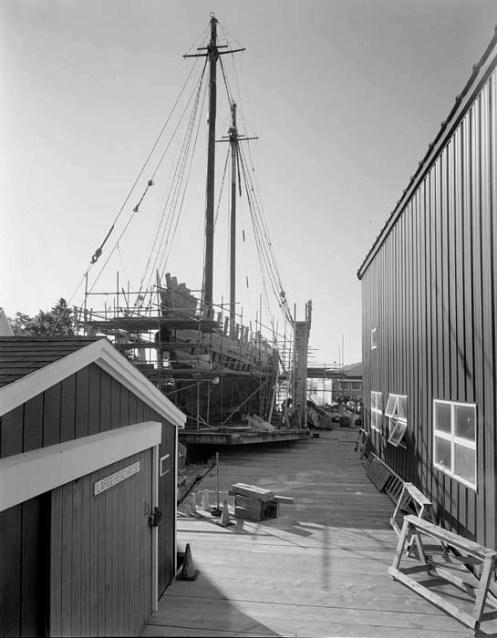 ERNESTINA on marine railway in Boothbay Shipyard, Boothbay, Maine, 2008.  Photo by Todd Croteau