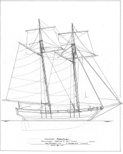 Preliminary Drawing of PORCUPINE courtesy of Bayfront Maritime Center