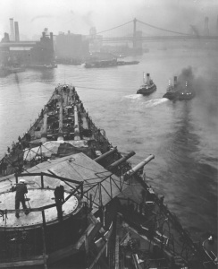 USS Iowa leaving New York Navy Yard. National Archives photo