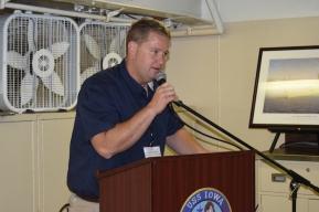 Jonathan Williams welcomes CAMM group to USS Iowa